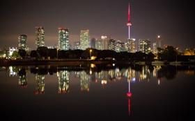 Картинка небо, вода, ночь, огни, отражение, дома, Канада