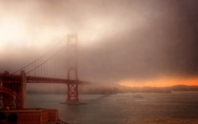 Картинка Golden Gate Bridge, Fog, San Fransico
