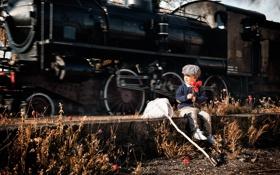 Обои настроение, поезд, маки, мальчик