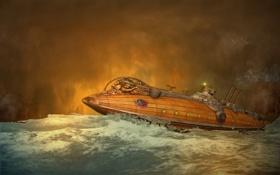 Картинка море, волны, лодка, дым, чайки, труба, субмарина