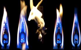 Обои огонь, lighters, fire, flames, свет