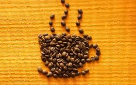 Обои оранжевый, кофе, зерна, coffee