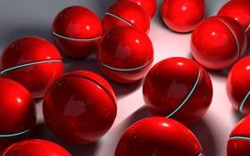 Обои полосы, шары, красные