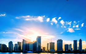 Обои небо, солнце, дома, Майами, Флорида, USA, США