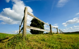 Обои обои, трава, небо, луг, пейзажи, поле, забор