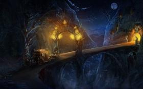 Обои горы, ночь, мост, огни, луна, кони, арт