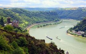 Обои пейзаж, природа, замок, сверху, канал, катера, водный