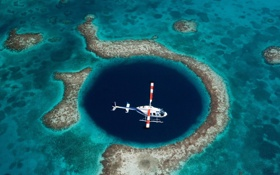 Обои море, вертолет, рифы