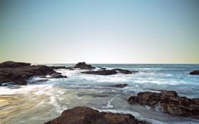 Обои море, небо, вода, океан, берег, рифы