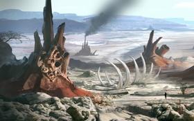 Картинка планета, Planetside 2, скелет, человек, ландшафт