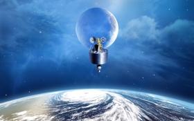 Картинка летательный аппарат, спутник, планета, небо