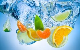 Обои вода, цитрусы, дольки