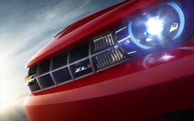 Картинка красный, фары, красота, camaro, chevrolet, бампер, ZL1
