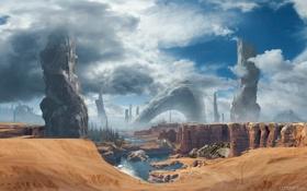 Обои песок, облака, камни, планета, скелеты, монолиты, Titanfall