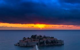 Картинка море, небо, закат, тучи, остров, дома, курорт