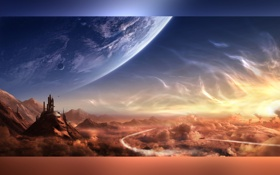 Картинка город, планета, спутник, Epsilon Lyrae
