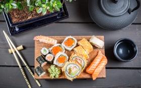 Обои палочки, rolls, sushi, суши, роллы, японская кухня, соевый соус