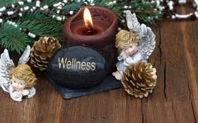 Обои украшения, шары, свеча, Новый Год, Рождество, Christmas, balls