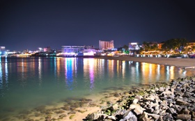 Обои камни, пляж, Тайланд, паттайя, ночь, море, огни