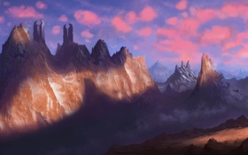 Обои пейзаж, меч, путник, человек, воин, арт, горы