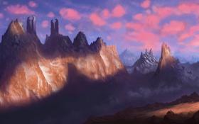 Обои пейзаж, горы, человек, меч, воин, арт, башни