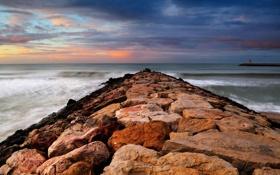 Обои камни, пирсы, океан, вода, волны, море, красивые пейзажи