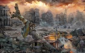 Обои город, люди, Из Прошлого — в Будущее, арт, постапокалипсис, Майдан