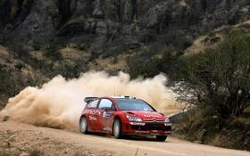 Картинка Красный, Горы, Пыль, Скорость, Citroen, WRC, Rally