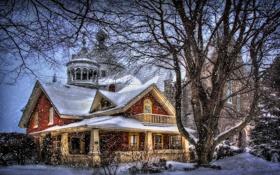 Картинка снег, деревья, стиль, фантазия, дома