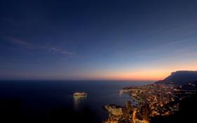 Обои ночь, монако, monaco