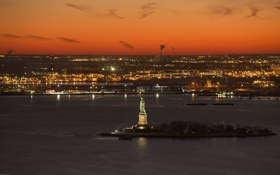 Картинка Night, Statue of Liberty, America, Liberty, New York harbor