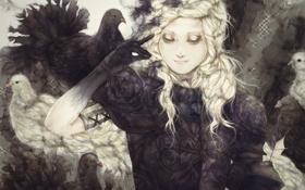 Обои девушка, птицы, доспехи, перья, арт, броня, yogisya