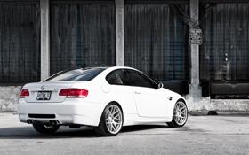 Обои бмв, BMW, склад, белая, white, E92, задняя часть