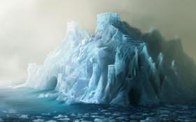 Обои ледник, город, арки, арт, лед, холод, море