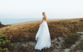 Картинка море, настроение, берег, платье, блондинка, невеста, в белом