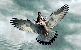 Картинка девушка, стиль, фон, птица