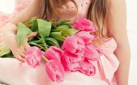 Обои тюльпаны, ребенок, девушка, цветы