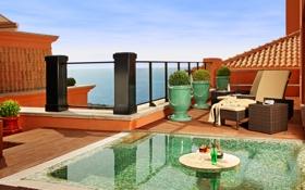 Обои вечер, море, вилла, балкон, бассейн