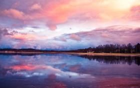 Картинка небо, озеро, розово