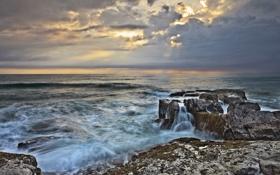 Картинка камни, скалы, небо, облака, волны, море, прибой