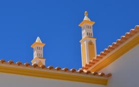 Обои крыша, башни, дом, архитектура
