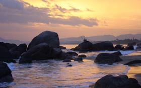 Обои море, пейзаж, закат, настроение, рыбалка, вечер, рыбаки