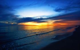 Обои облака, берег, небо, прогулка, зарево, море