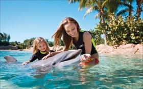 Обои девушки, очень доброе, дельфин, дети, улыбка, Настроение