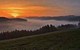 Обои закат, горы, туман, панорама
