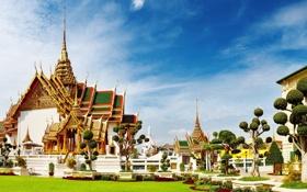 Обои здание, тайланд, деревья, храм