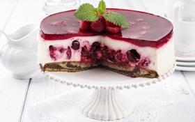 Картинка ягоды, малина, сладость, мята, выпечка, тортик, желе