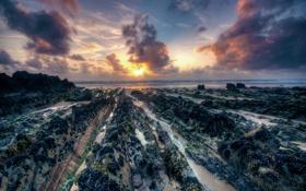 Обои stones, sea, sunset, beach