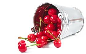 Обои вишня, ягоды, ведро, fresh, wood, черешня, sweet