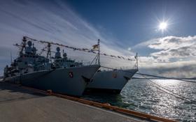 Картинка причал, фрегаты, FGS Bremen, FGS Emden, German Navy